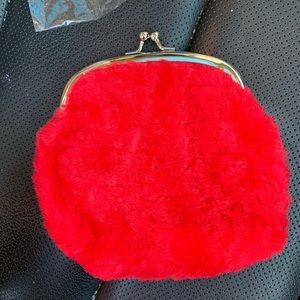 Red fake fur coin purse /small bag